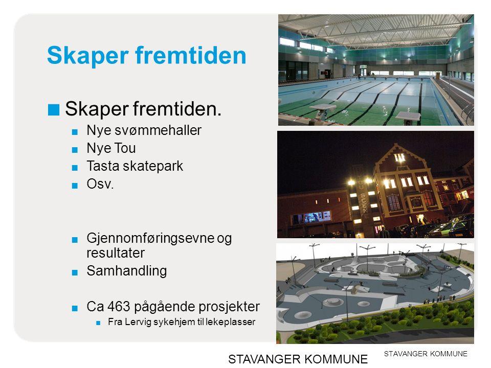 Skaper fremtiden ■ Skaper fremtiden. ■ Nye svømmehaller ■ Nye Tou ■ Tasta skatepark ■ Osv.
