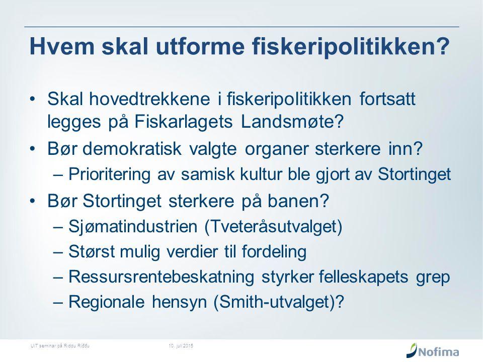 Hvem skal utforme fiskeripolitikken.