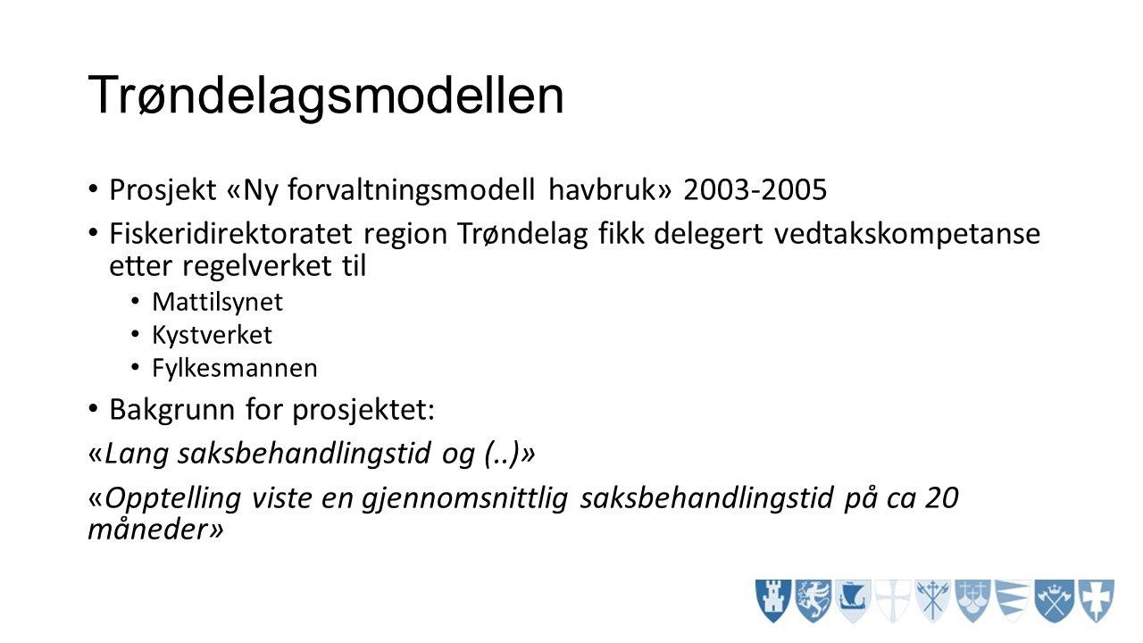 Trøndelagsmodellen Prosjekt «Ny forvaltningsmodell havbruk» 2003-2005 Fiskeridirektoratet region Trøndelag fikk delegert vedtakskompetanse etter regel