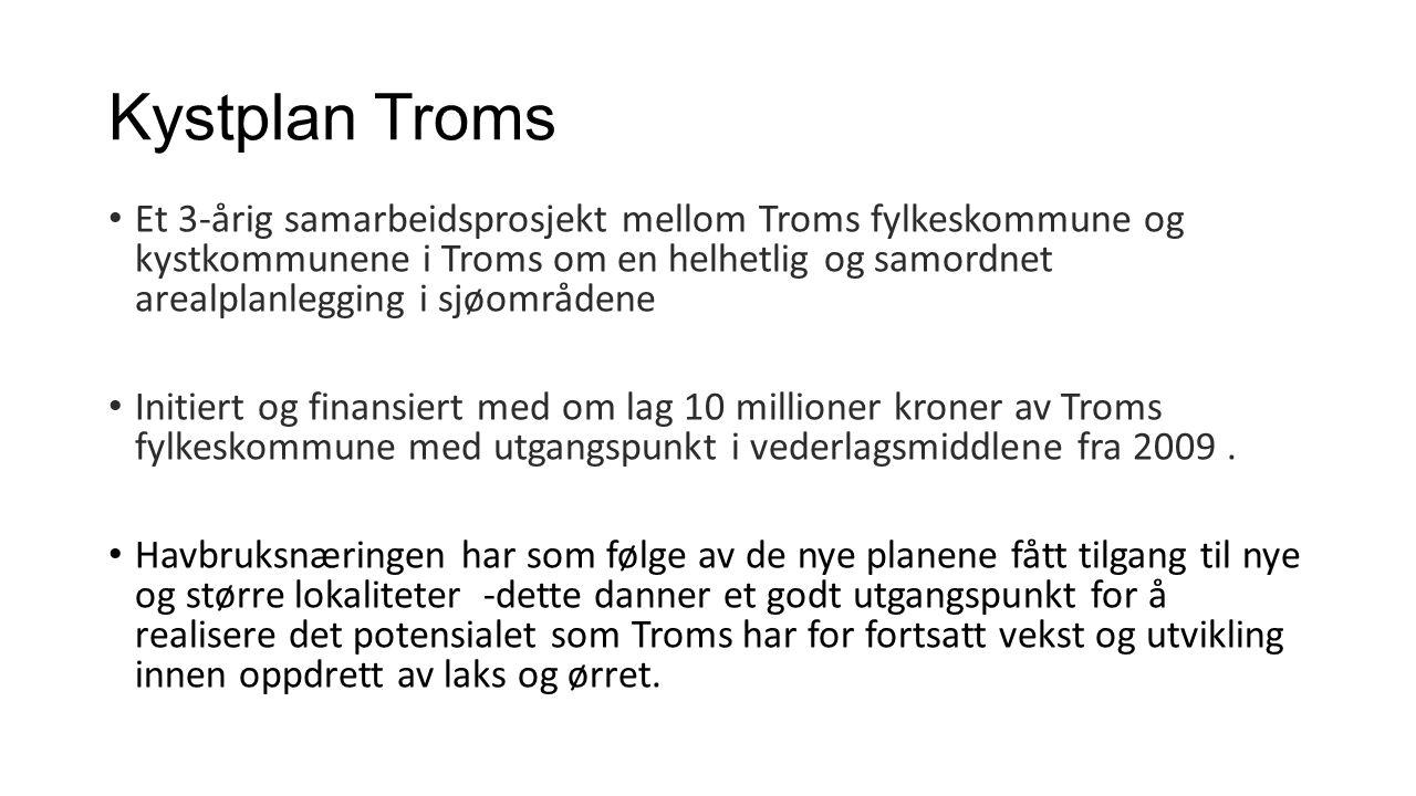Et 3-årig samarbeidsprosjekt mellom Troms fylkeskommune og kystkommunene i Troms om en helhetlig og samordnet arealplanlegging i sjøområdene Initiert og finansiert med om lag 10 millioner kroner av Troms fylkeskommune med utgangspunkt i vederlagsmiddlene fra 2009.