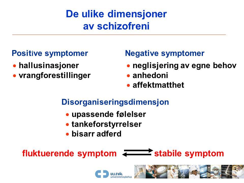 De ulike dimensjoner av psykoselidelse  kronifisert / akutt  defekt-preg / symptomrikdom  primære / sekundære fenomen  rest-tilstand / aktiv fase