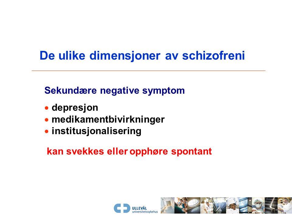 Posit i ve symptomer  upassende følelser  tankeforstyrrelser  bisarr adferd Disorganiseringsdimensjon Negative symptomer  neglisjering av egne beh