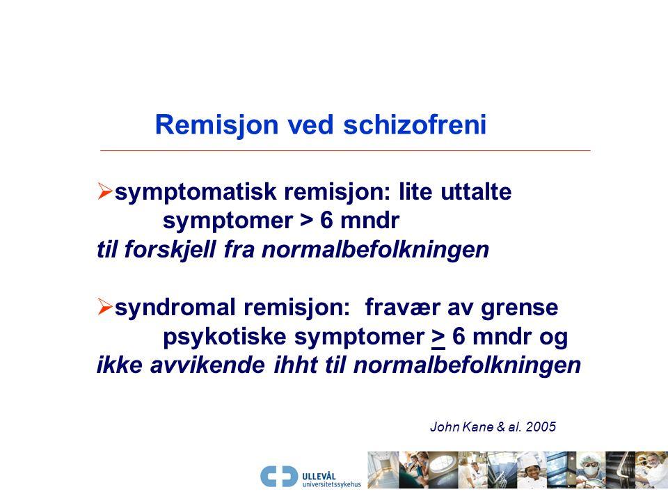 Respons som behandlingsmål?  Pasienten har klar symptomlette, men er fortsatt preget av symptomer  > 50% reduksjon i i symptomenes alvorlighetsgrad