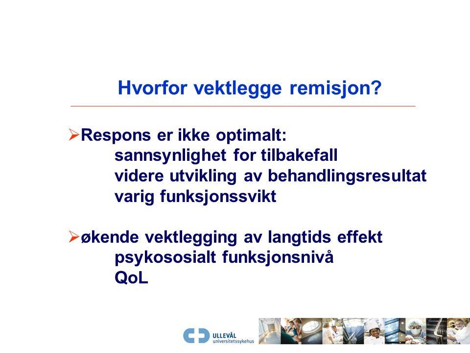 Å måle remisjon ved schizofreni:  Forbedringer ved psykofarmakologisk behandling: remisjon som behandlingsmål  Behov for klinisk og forskningsbasert