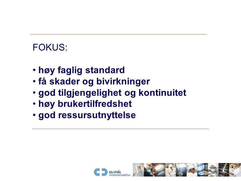 FOKUS: høy faglig standard få skader og bivirkninger god tilgjengelighet og kontinuitet høy brukertilfredshet god ressursutnyttelse