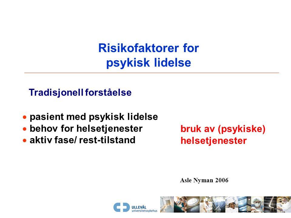 Risikofaktorer for psykisk lidelse  pasient med psykisk lidelse  behov for helsetjenester  aktiv fase/ rest-tilstand Tradisjonell forståelse bruk av (psykiske) helsetjenester Asle Nyman 2006