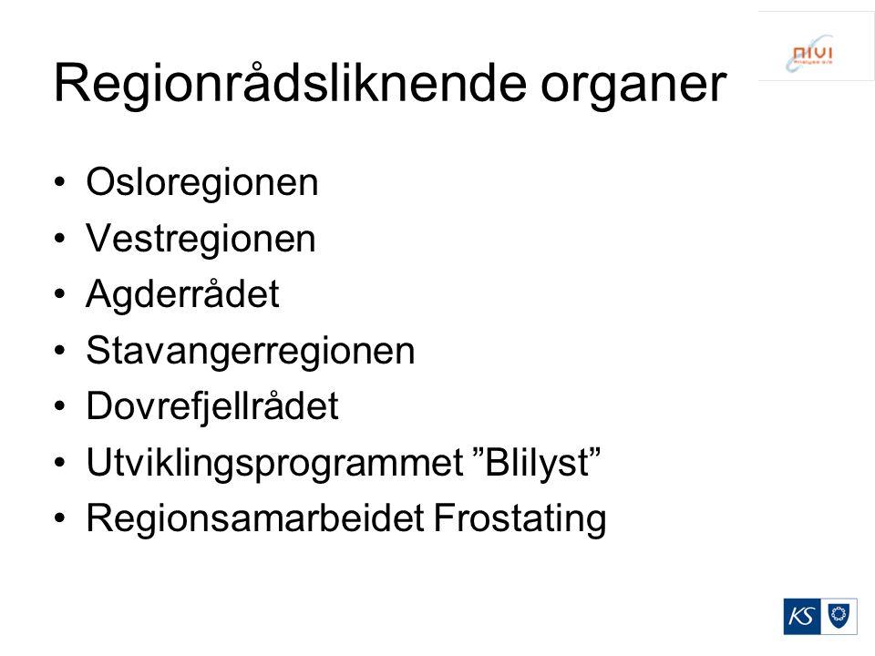 """Regionrådsliknende organer Osloregionen Vestregionen Agderrådet Stavangerregionen Dovrefjellrådet Utviklingsprogrammet """"Blilyst"""" Regionsamarbeidet Fro"""