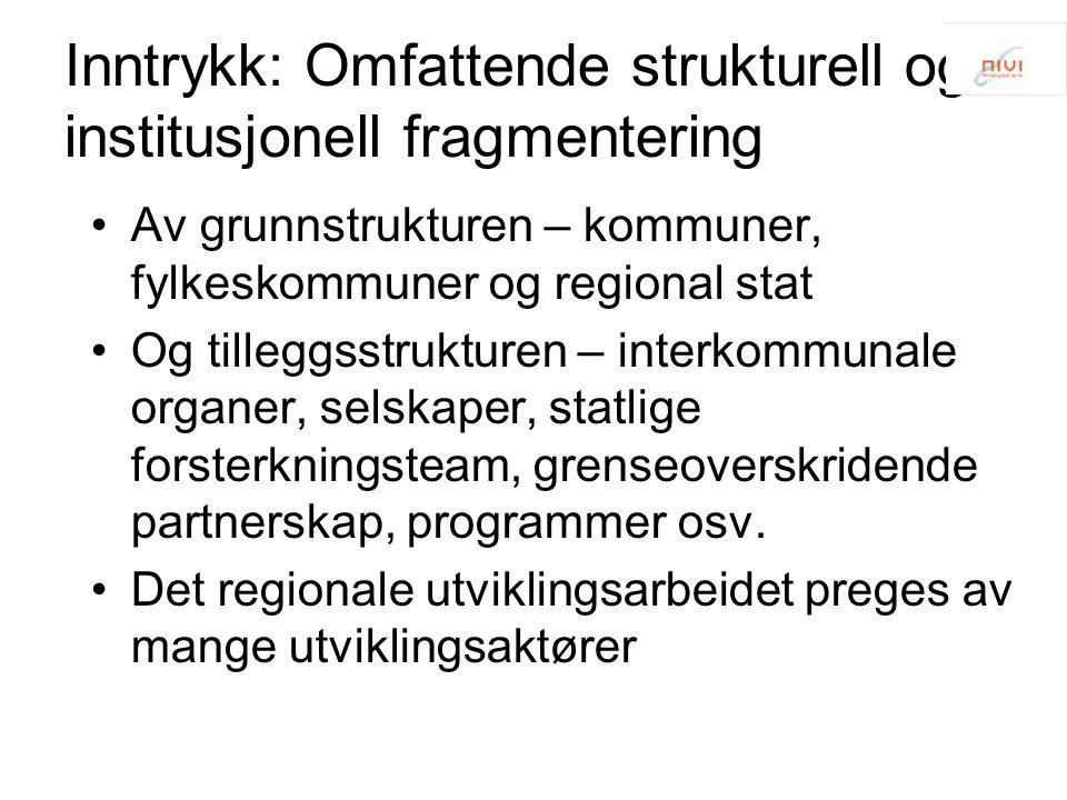 Inntrykk: Omfattende strukturell og institusjonell fragmentering Av grunnstrukturen – kommuner, fylkeskommuner og regional stat Og tilleggsstrukturen
