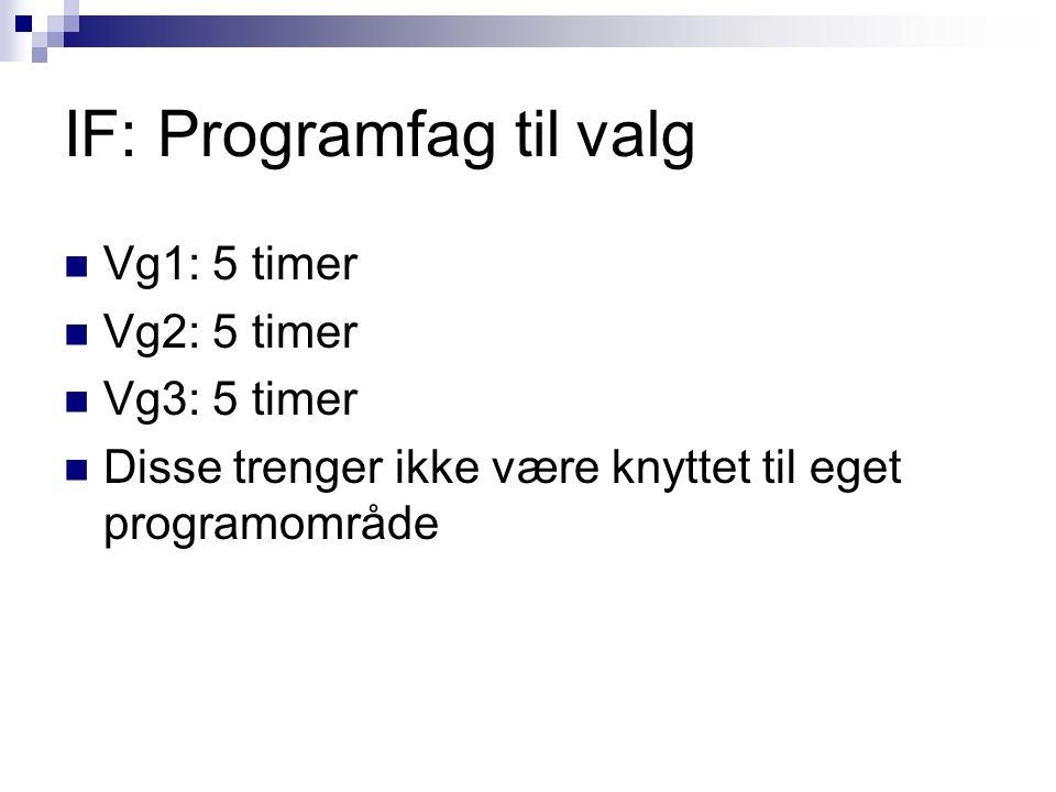 IF: Programfag til valg Vg1: 5 timer Vg2: 5 timer Vg3: 5 timer Disse trenger ikke være knyttet til eget programområde