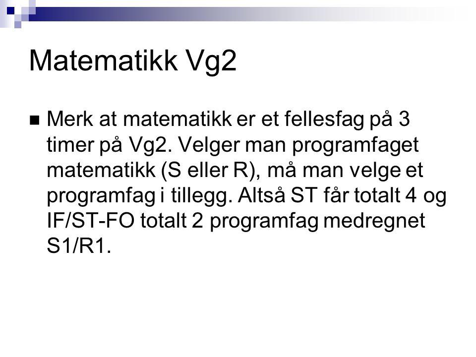 Matematikk Vg2 Merk at matematikk er et fellesfag på 3 timer på Vg2. Velger man programfaget matematikk (S eller R), må man velge et programfag i till