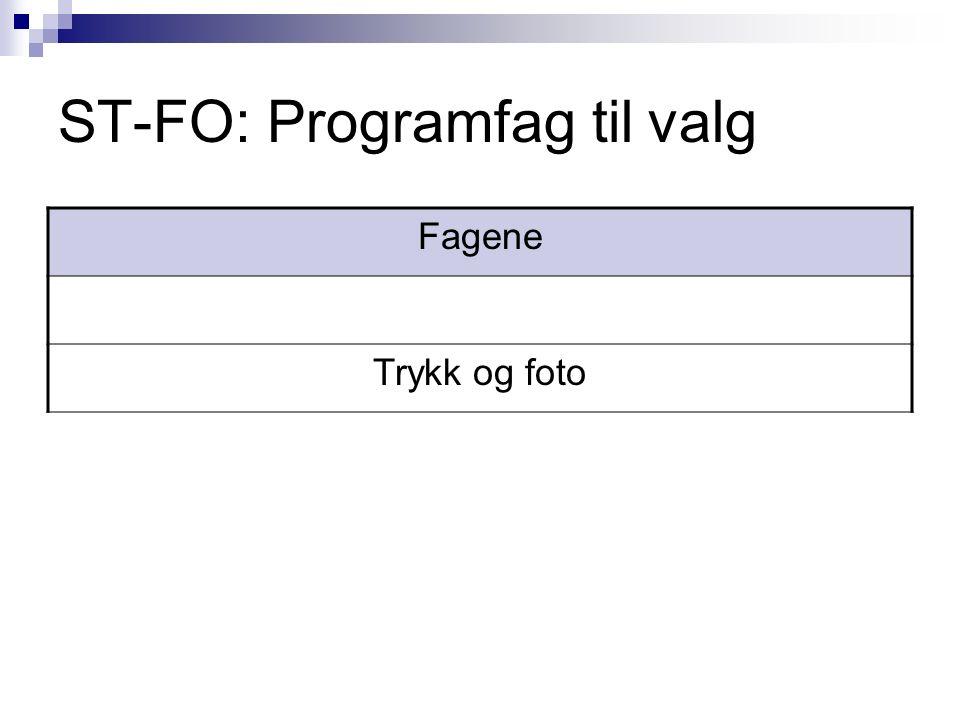 ST-FO: Programfag til valg Fagene Trykk og foto