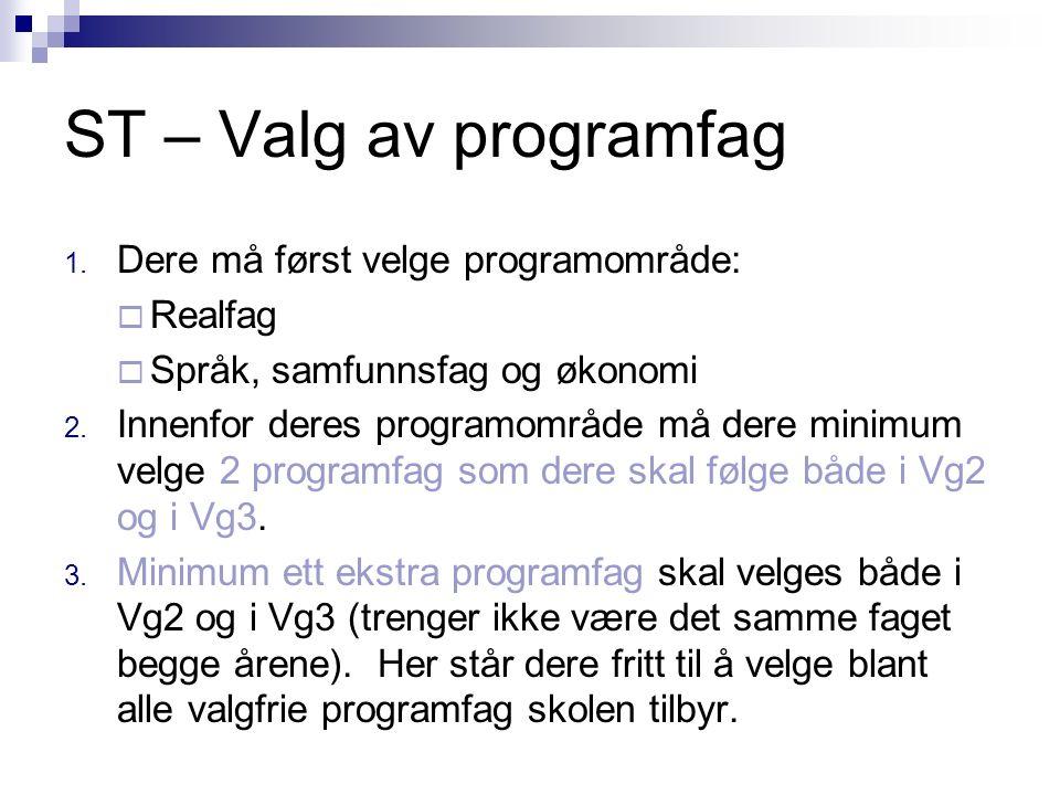ST – Valg av programfag 1. Dere må først velge programområde:  Realfag  Språk, samfunnsfag og økonomi 2. Innenfor deres programområde må dere minimu
