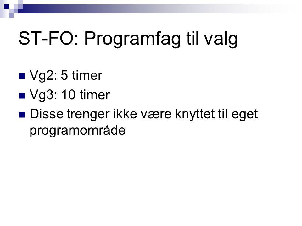 ST-FO: Programfag til valg Vg2: 5 timer Vg3: 10 timer Disse trenger ikke være knyttet til eget programområde