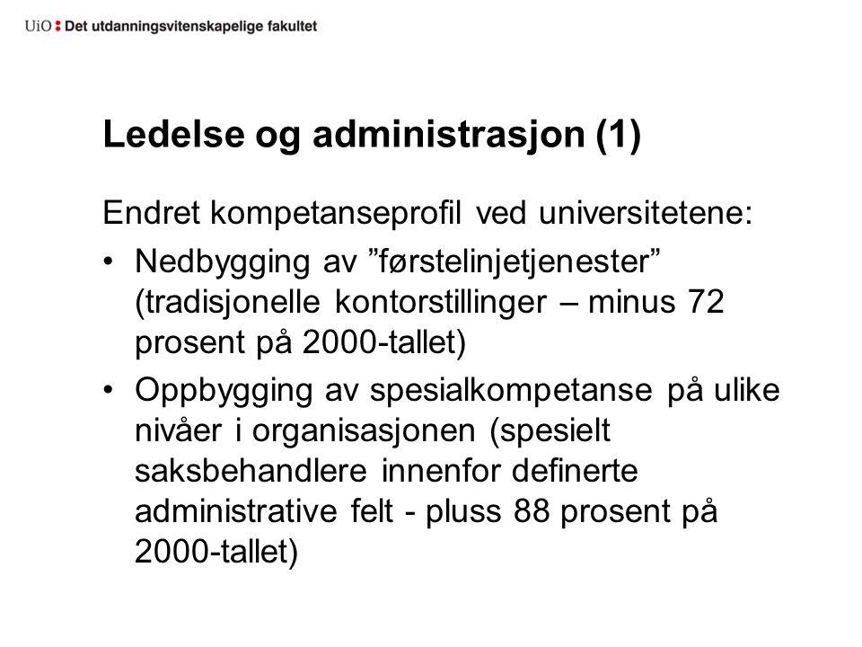 """Ledelse og administrasjon (1) Endret kompetanseprofil ved universitetene: Nedbygging av """"førstelinjetjenester"""" (tradisjonelle kontorstillinger – minus"""