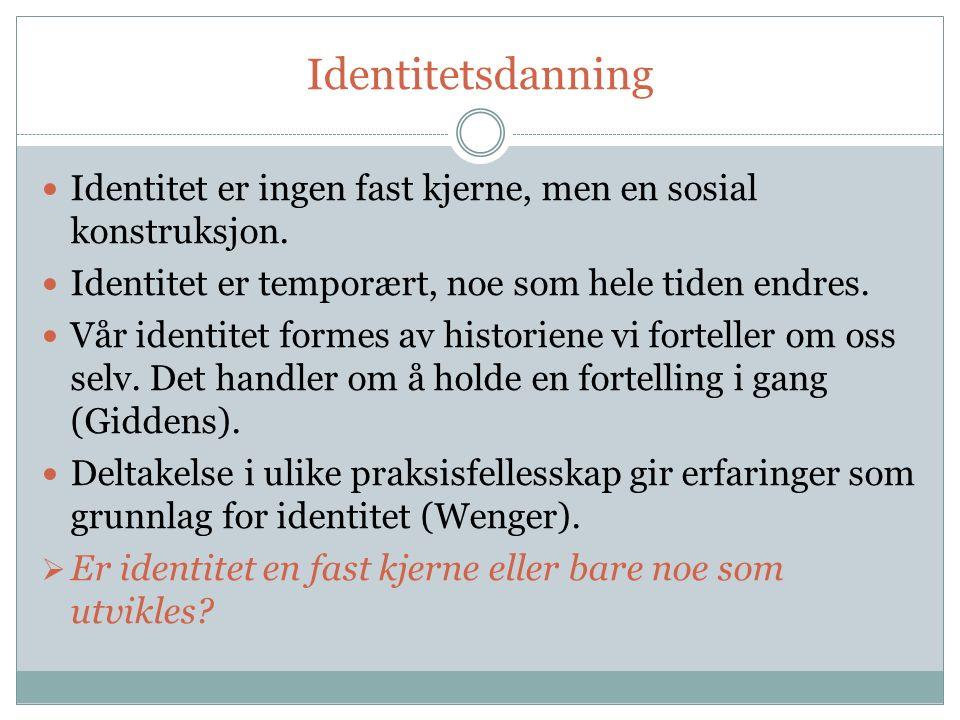 Identitetsdanning Identitet er ingen fast kjerne, men en sosial konstruksjon.