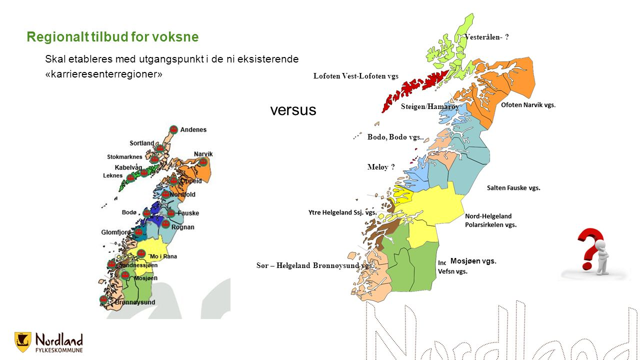 Regionalt tilbud for voksne Skal etableres med utgangspunkt i de ni eksisterende «karrieresenterregioner» versus Vesterålen- .