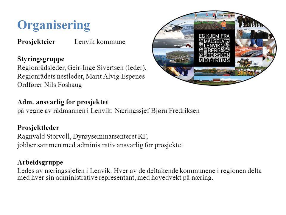 Organisering ProsjekteierLenvik kommune Styringsgruppe Regionrådsleder, Geir-Inge Sivertsen (leder), Regionrådets nestleder, Marit Alvig Espenes Ordfører Nils Foshaug Adm.