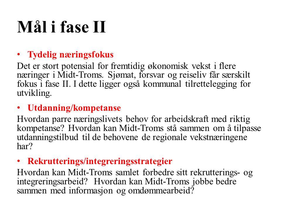 Mål i fase II Tydelig næringsfokus Det er stort potensial for fremtidig økonomisk vekst i flere næringer i Midt-Troms.