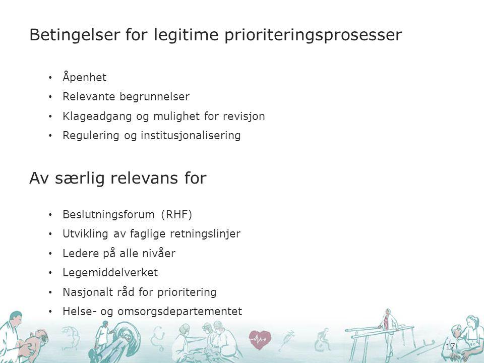 Betingelser for legitime prioriteringsprosesser 17 Åpenhet Relevante begrunnelser Klageadgang og mulighet for revisjon Regulering og institusjonaliser