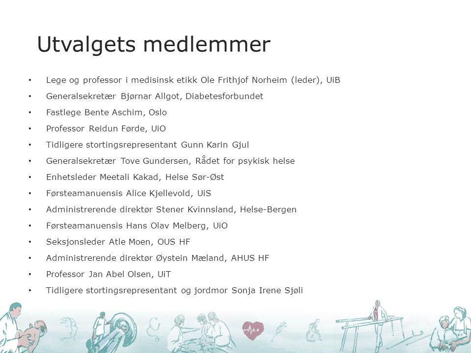 Lege og professor i medisinsk etikk Ole Frithjof Norheim (leder), UiB Generalsekretær Bjørnar Allgot, Diabetesforbundet Fastlege Bente Aschim, Oslo Pr