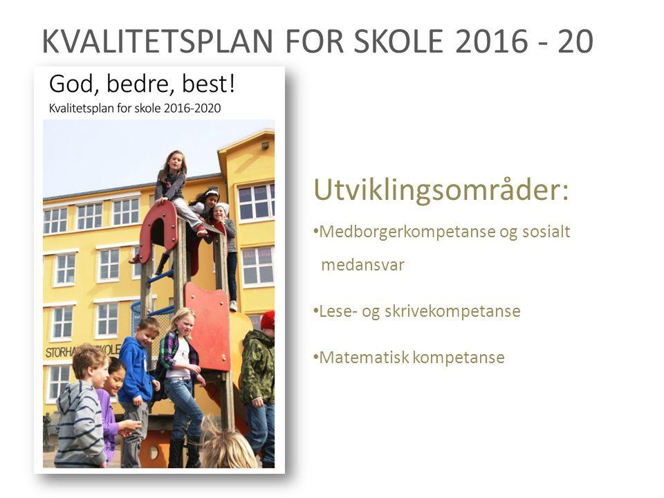 KVALITETSPLAN FOR SKOLE 2016 - 20 Utviklingsområder: Medborgerkompetanse og sosialt medansvar Lese- og skrivekompetanse Matematisk kompetanse
