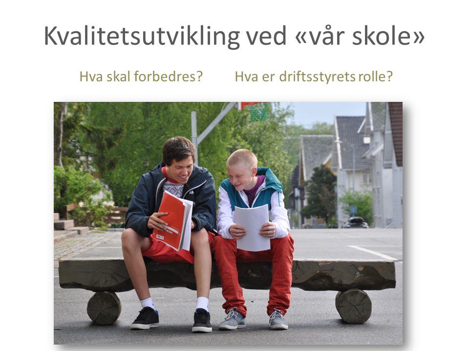 Kvalitetsutvikling ved «vår skole» Hva skal forbedres? Hva er driftsstyrets rolle?