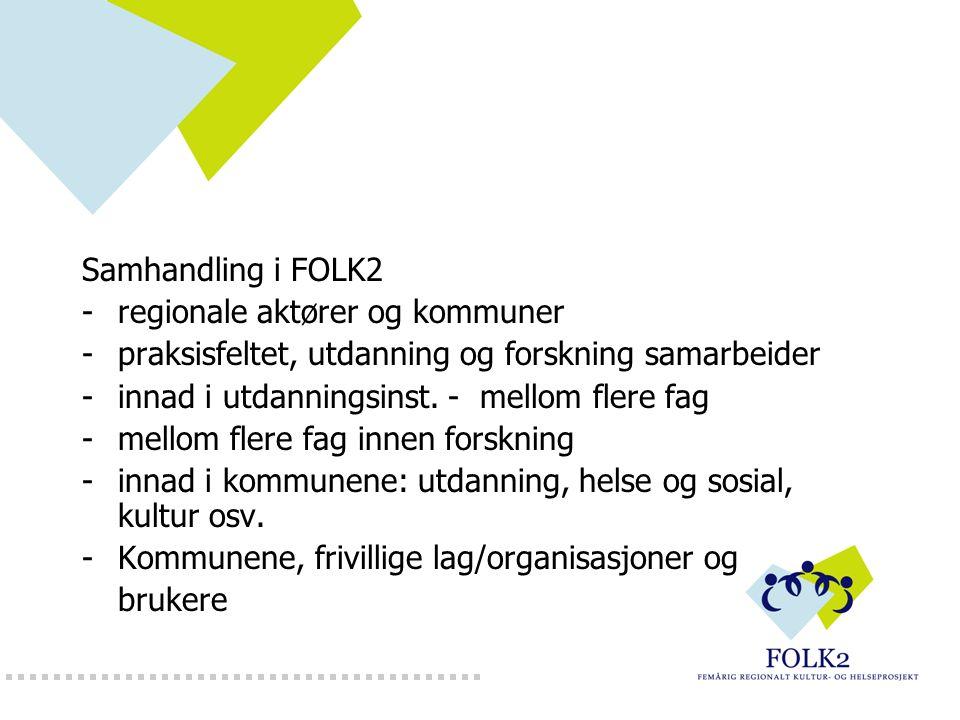 Samhandling i FOLK2 -regionale aktører og kommuner -praksisfeltet, utdanning og forskning samarbeider -innad i utdanningsinst. - mellom flere fag -mel