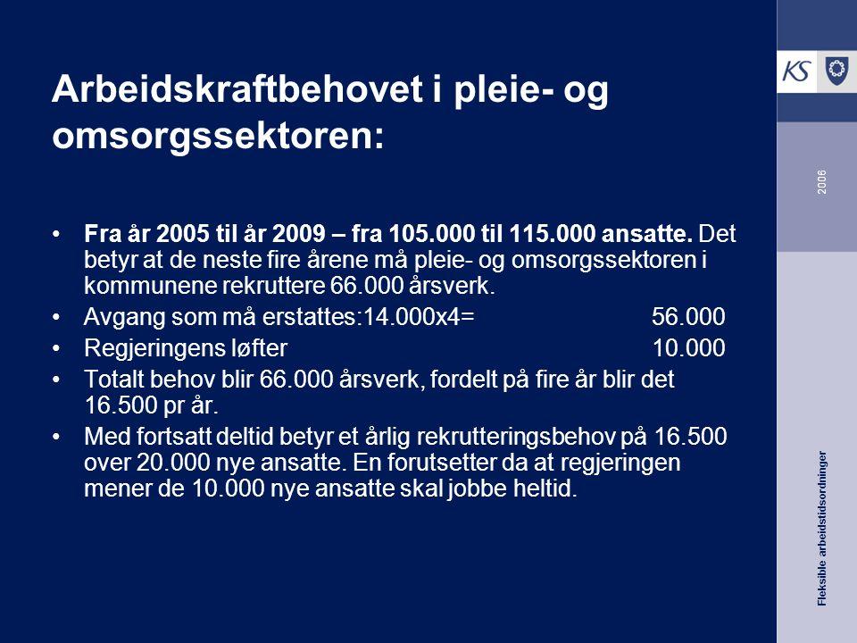Fleksible arbeidstidsordninger 2006 Arbeidskraftbehovet i pleie- og omsorgssektoren: Fra år 2005 til år 2009 – fra 105.000 til 115.000 ansatte.