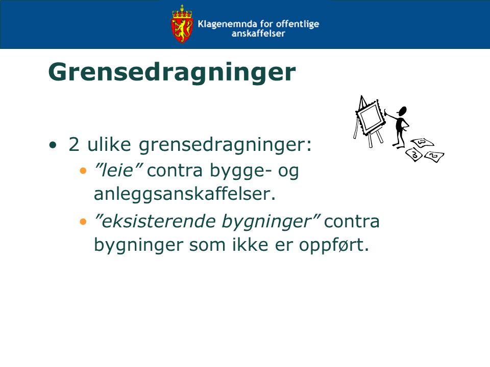 Grensedragninger 2 ulike grensedragninger: leie contra bygge- og anleggsanskaffelser.