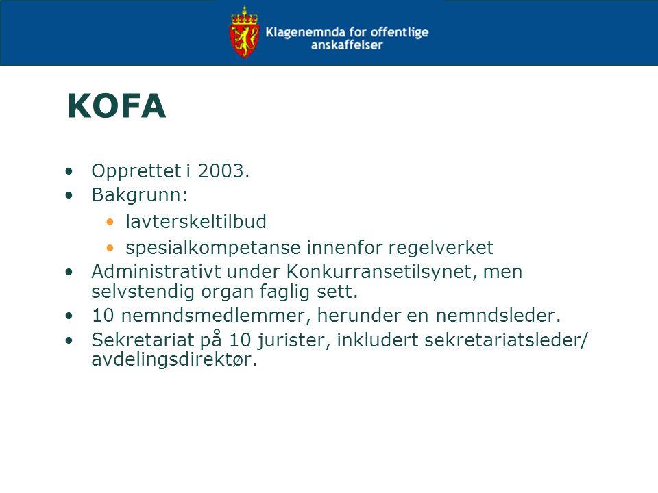 KOFA Opprettet i 2003.