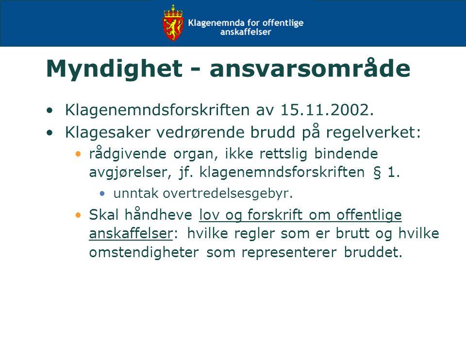 Myndighet - ansvarsområde Klagenemndsforskriften av 15.11.2002.