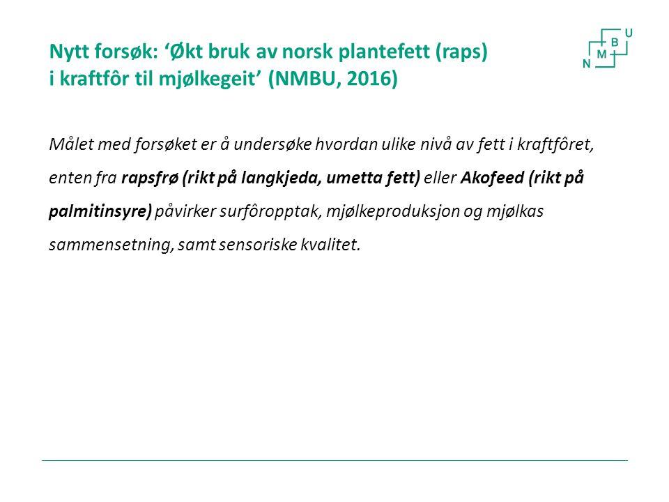 Nytt forsøk: 'Økt bruk av norsk plantefett (raps) i kraftfôr til mjølkegeit' (NMBU, 2016) Målet med forsøket er å undersøke hvordan ulike nivå av fett