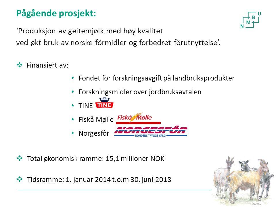 4 Pågående prosjekt: 'Produksjon av geitemjølk med høy kvalitet ved økt bruk av norske fôrmidler og forbedret fôrutnyttelse'.  Finansiert av: Fondet
