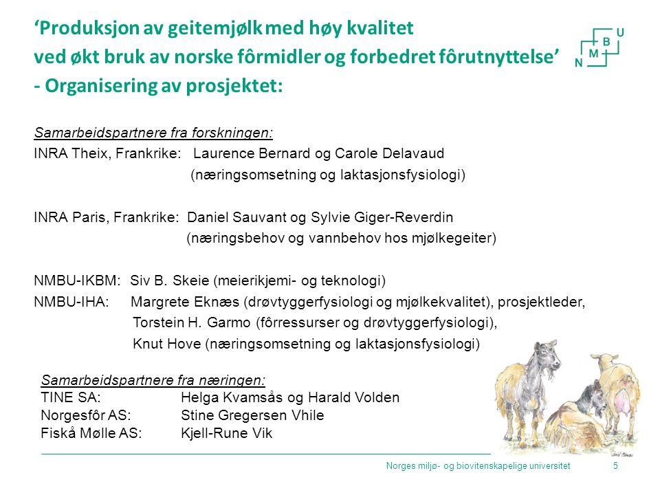 'Produksjon av geitemjølk med høy kvalitet ved økt bruk av norske fôrmidler og forbedret fôrutnyttelse' - Organisering av prosjektet: Samarbeidspartne