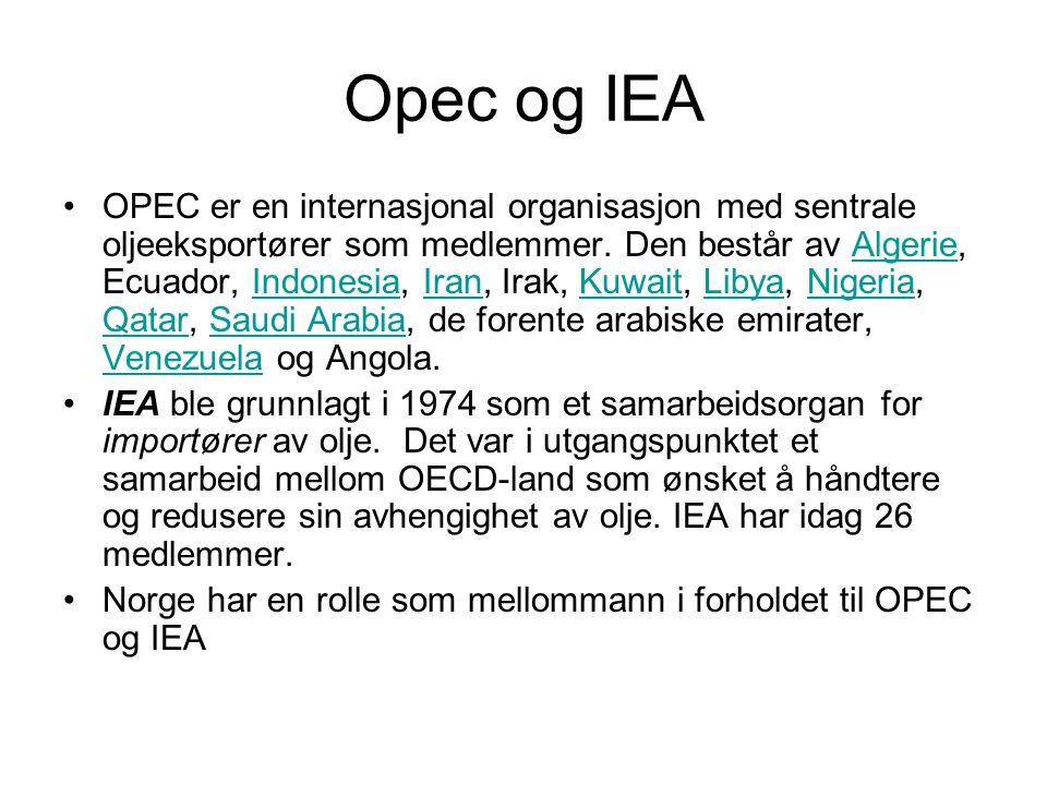 Opec og IEA OPEC er en internasjonal organisasjon med sentrale oljeeksportører som medlemmer. Den består av Algerie, Ecuador, Indonesia, Iran, Irak, K