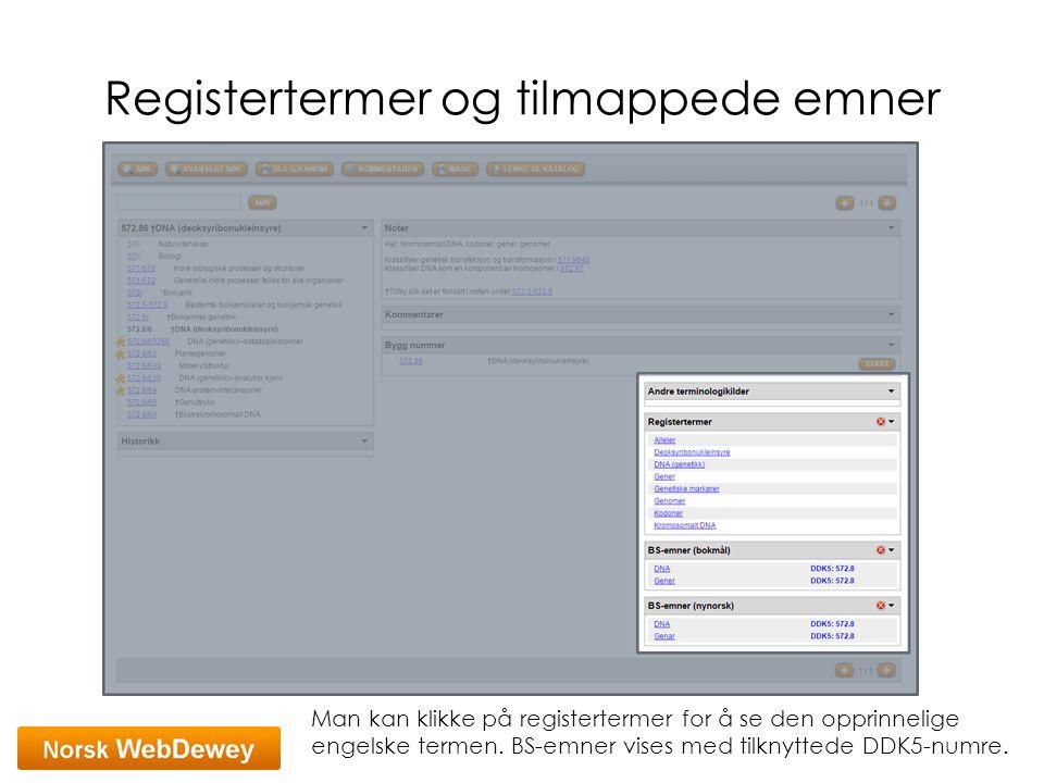 Registertermer og tilmappede emner Man kan klikke på registertermer for å se den opprinnelige engelske termen. BS-emner vises med tilknyttede DDK5-num