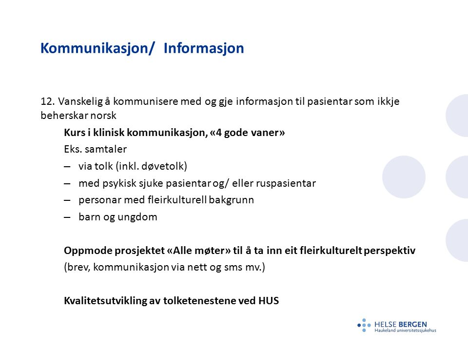 Kommunikasjon/ Informasjon 12.