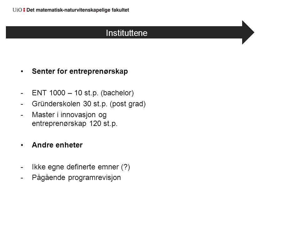 Senter for entreprenørskap -ENT 1000 – 10 st.p. (bachelor) -Gründerskolen 30 st.p. (post grad) -Master i innovasjon og entreprenørskap 120 st.p. Andre