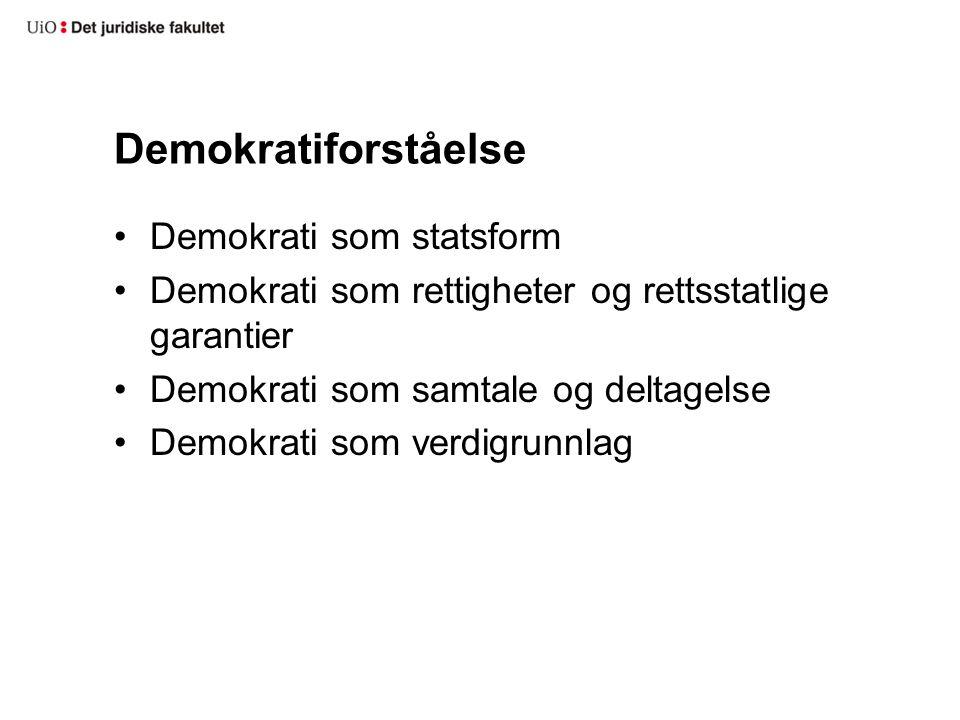 Demokratiforståelse Demokrati som statsform Demokrati som rettigheter og rettsstatlige garantier Demokrati som samtale og deltagelse Demokrati som verdigrunnlag