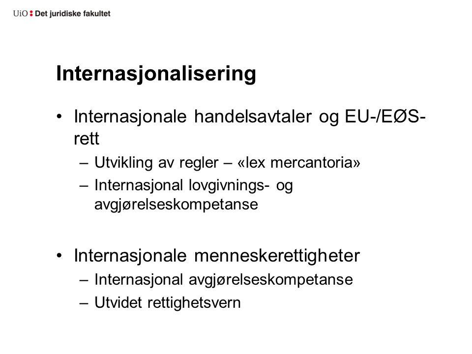 Internasjonalisering Internasjonale handelsavtaler og EU-/EØS- rett –Utvikling av regler – «lex mercantoria» –Internasjonal lovgivnings- og avgjørelseskompetanse Internasjonale menneskerettigheter –Internasjonal avgjørelseskompetanse –Utvidet rettighetsvern