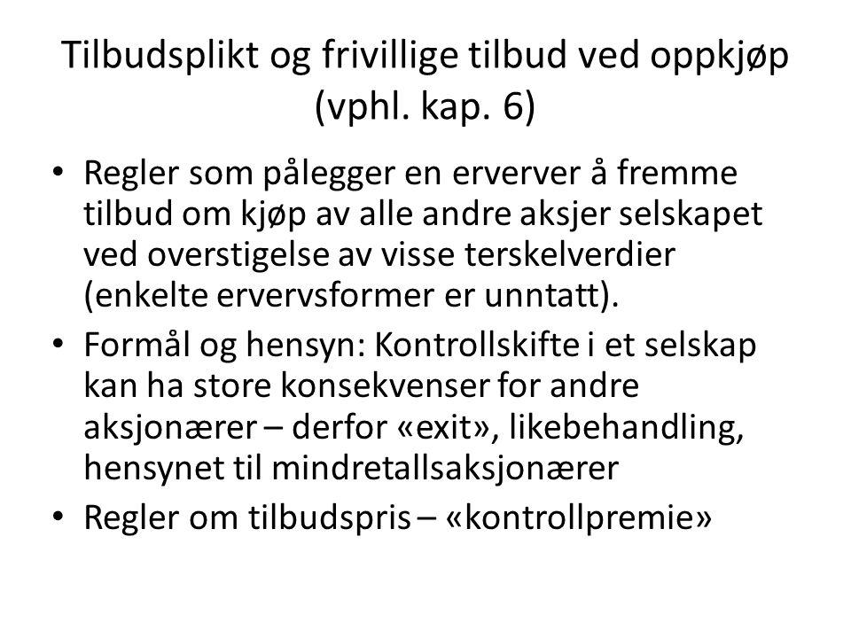 Tilbudsplikt og frivillige tilbud ved oppkjøp (vphl.