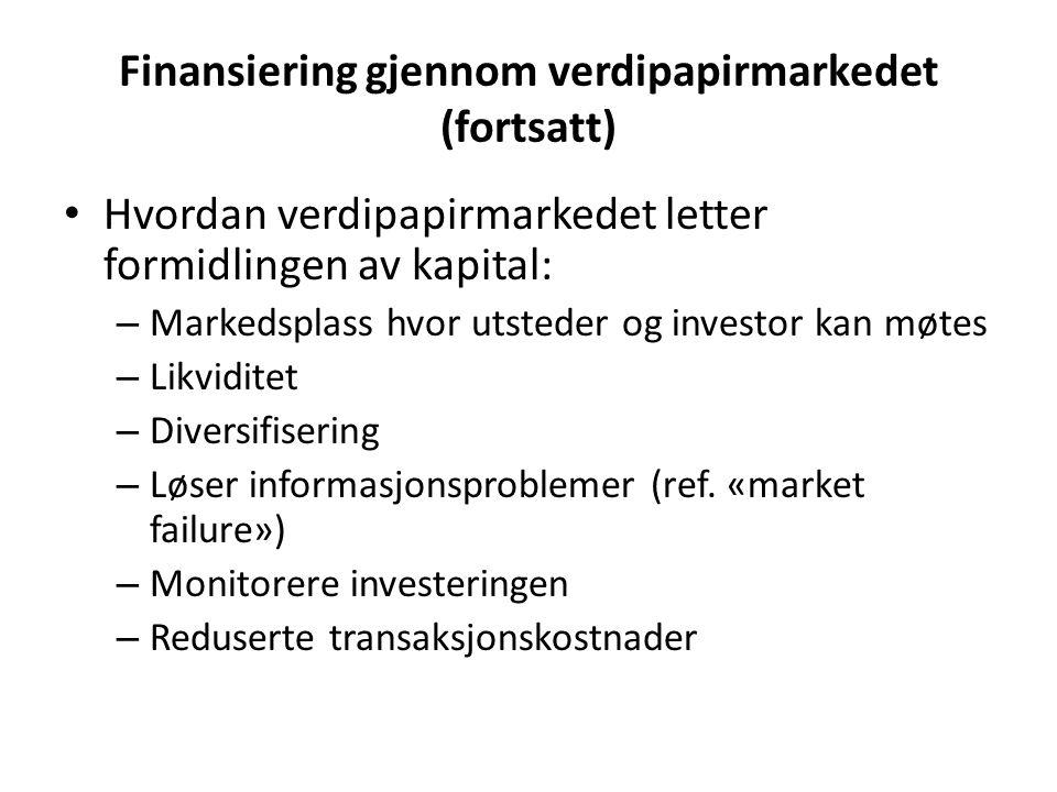Finansiering gjennom verdipapirmarkedet (fortsatt) Hvordan verdipapirmarkedet letter formidlingen av kapital: – Markedsplass hvor utsteder og investor kan møtes – Likviditet – Diversifisering – Løser informasjonsproblemer (ref.