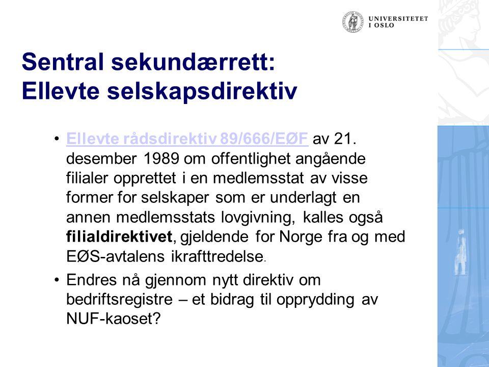 Sentral sekundærrett: Ellevte selskapsdirektiv Ellevte rådsdirektiv 89/666/EØF av 21.