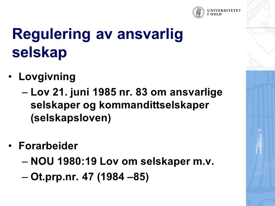 Regulering av aksjeselskaper Lovgivning: Lov 13.juni 1997 nr.