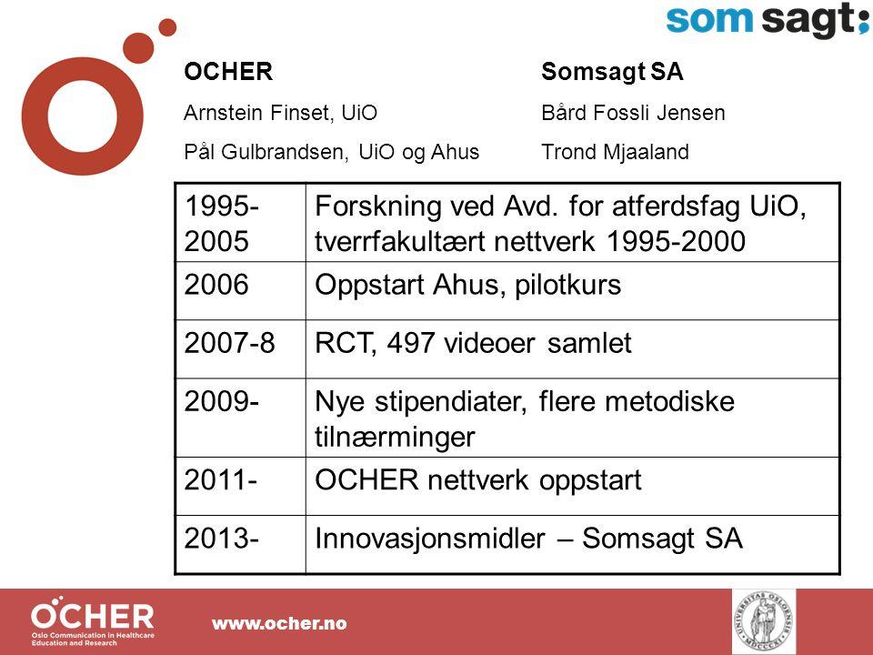 www.ocher.no OCHER Arnstein Finset, UiO Pål Gulbrandsen, UiO og Ahus 1995- 2005 Forskning ved Avd.