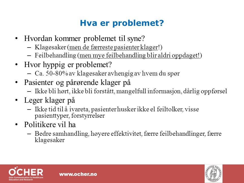 www.ocher.no Hva er problemet. Hvordan kommer problemet til syne.