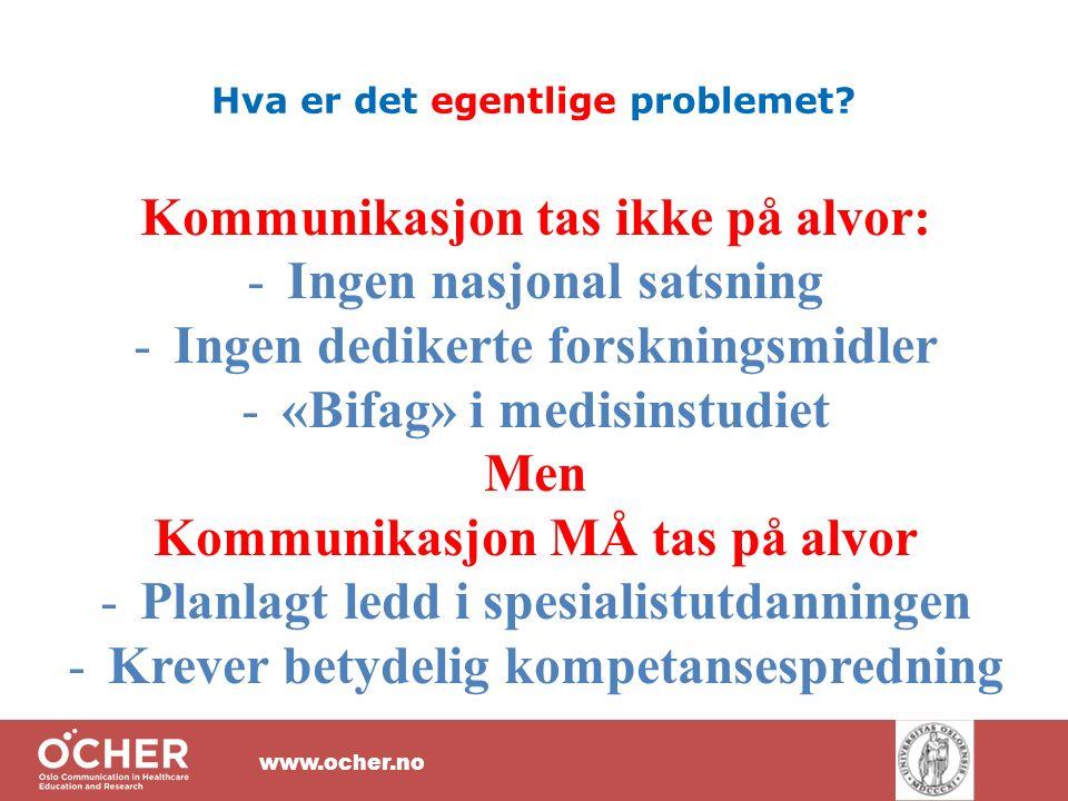 www.ocher.no Hva er det egentlige problemet.