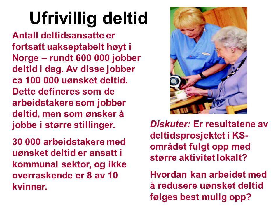 Antall deltidsansatte er fortsatt uakseptabelt høyt i Norge – rundt 600 000 jobber deltid i dag.