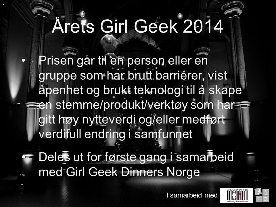 Prisen går til en person eller en gruppe som har brutt barriérer, vist åpenhet og brukt teknologi til å skape en stemme/produkt/verktøy som har gitt høy nytteverdi og/eller medført verdifull endring i samfunnet Deles ut for første gang i samarbeid med Girl Geek Dinners Norge Årets Girl Geek 2014 I samarbeid med