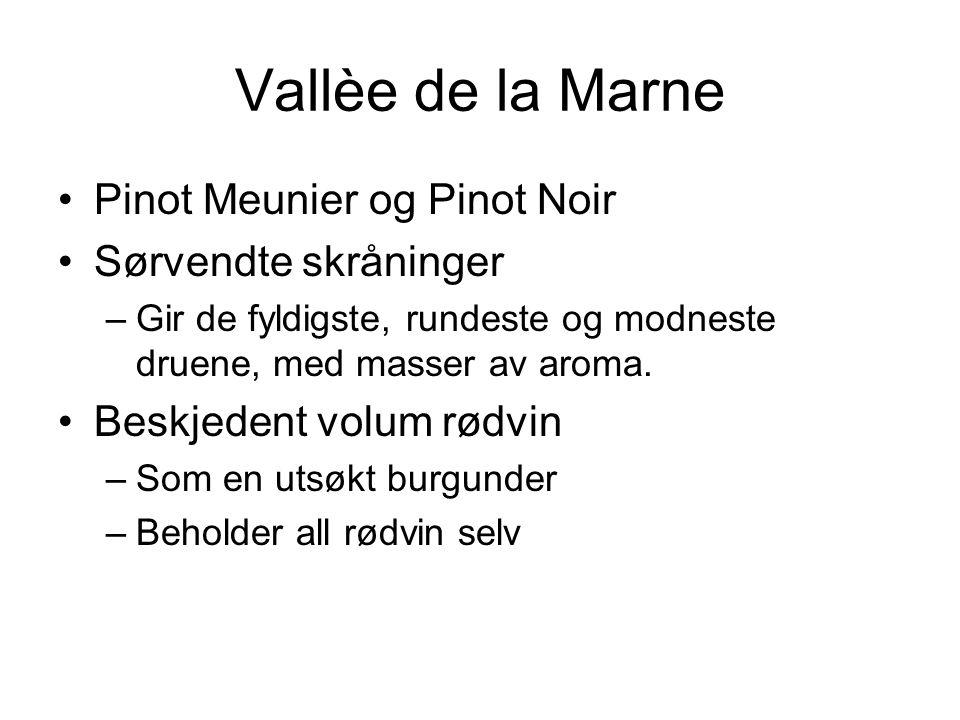 Vallèe de la Marne Pinot Meunier og Pinot Noir Sørvendte skråninger –Gir de fyldigste, rundeste og modneste druene, med masser av aroma.